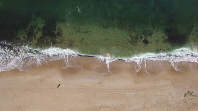 4K Aerial view of sea and waves breaking on beach