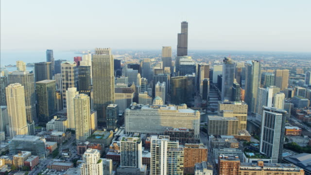 aerial view of sears tower chicago city illinois - willis tower stock videos and b-roll footage