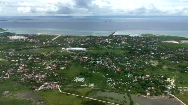Aerial view of seascape and residential district of Bohol island