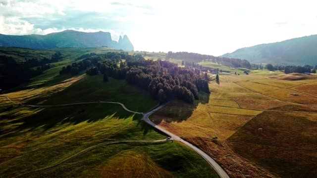aerial view of seiser alm in the south tyrol - cottage stock videos & royalty-free footage