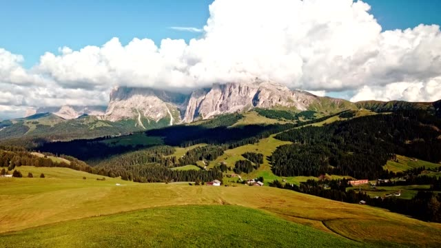 aerial view of seiser alm in the south tyrol - siusi video stock e b–roll