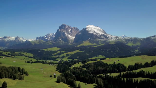Aerial view of Seiser Alm (Sassopiatto and Sassolungo)