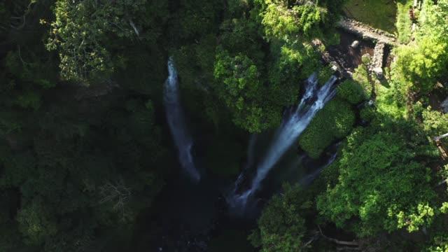 vídeos de stock e filmes b-roll de aerial view of sekumpul waterfall - beauty in nature