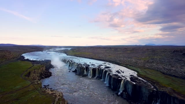 aerial view of selfoss waterfall, iceland - delta stock videos and b-roll footage