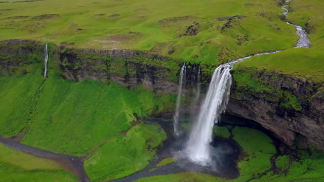 aerial view of seljalandfoss waterfall in iceland - seljalandsfoss waterfall stock videos and b-roll footage