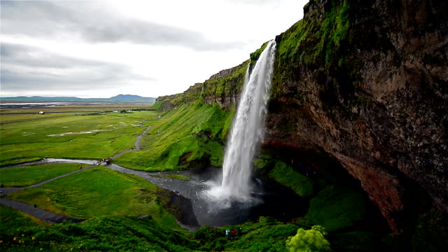 Aerial view of Seljarlandfoss waterfall, Iceland