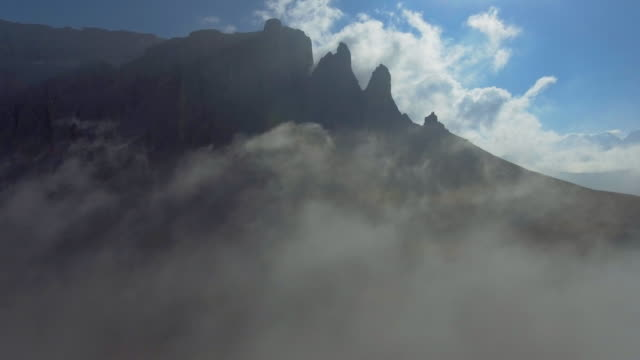 aerial view of sella pass - mountain range stock videos & royalty-free footage