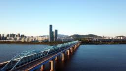 Aerial View of Seoul City Skyline,South Korea