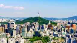 Aerial view of Seoul downtown cityscape and Namsan Seoul Tower on sunset Seoul, South Korea.