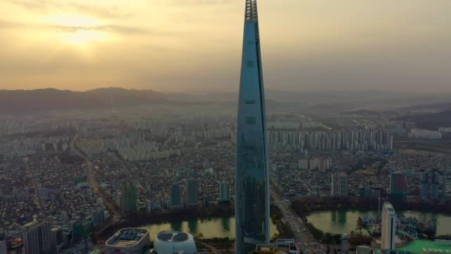 aerial view of seoul, south korea with lotte world tower building - tower stock videos & royalty-free footage