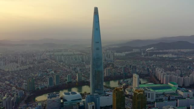 aerial view of seoul, south korea with lotte world tower building - south korea stock videos & royalty-free footage