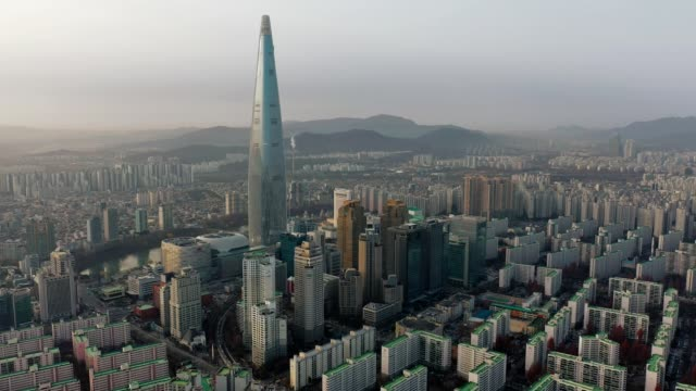 aerial view of seoul, south korea with lotte world tower building - korea stock videos & royalty-free footage