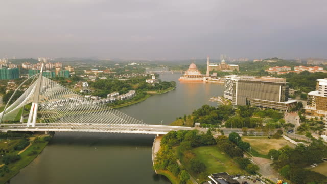 Aerial View of Seri Wawasan Bridge in Kuala Lumpur,  a planned city and the federal administrative centre of Malaysia