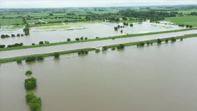 aerial view of serious flooding in wainfleet lincolnshire - directly above stock videos & royalty-free footage