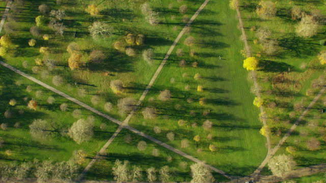 aerial view of serpentine and kensington gardens london - hyde park london stock videos & royalty-free footage