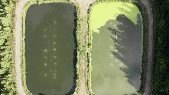 Aerial View of Sewage Treatment Plant - Waste Water Purification Plant