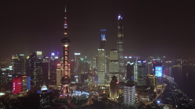 vidéos et rushes de aerial view of shanghai at night - shanghai
