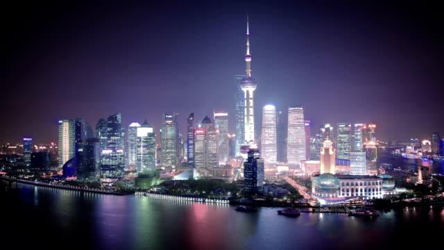 aerial view of shanghai bund skyline. - shanghai stock videos & royalty-free footage