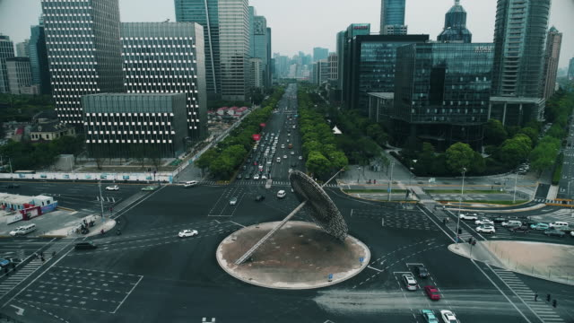 Aerial view of Shanghai Century Park and avenue in Pudong