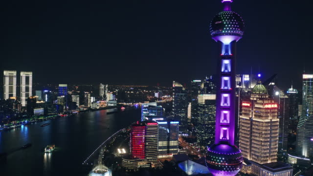 aerial view of shanghai city at night - aerial stock videos & royalty-free footage