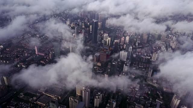 aerial view of shanghai city in fog - shanghai stock videos & royalty-free footage