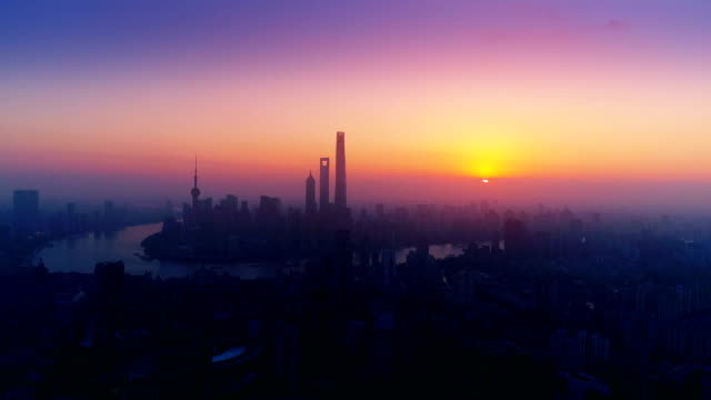 aerial view of Shanghai city in the morning,China