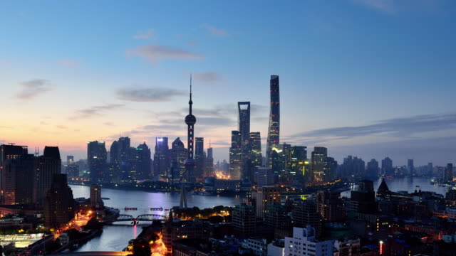 Aerial View of Shanghai Cityscape, Dawn to Day Time lapse