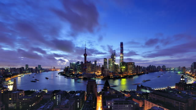4K: Aerial View of Shanghai Cityscape, Dawn to Day Time lapse