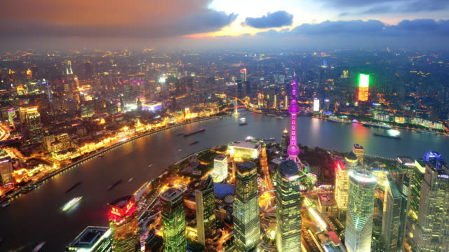 Aerial view of Shanghai cityscape in dramatic sky