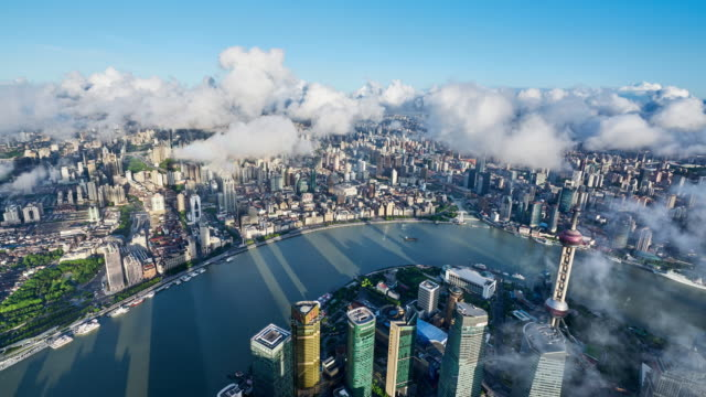 4k: aerial view of shanghai cityscape in morning at time lapse, china - shanghai stock videos & royalty-free footage