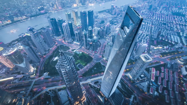 T/L WS HA Aerial View of Shanghai Cityscape
