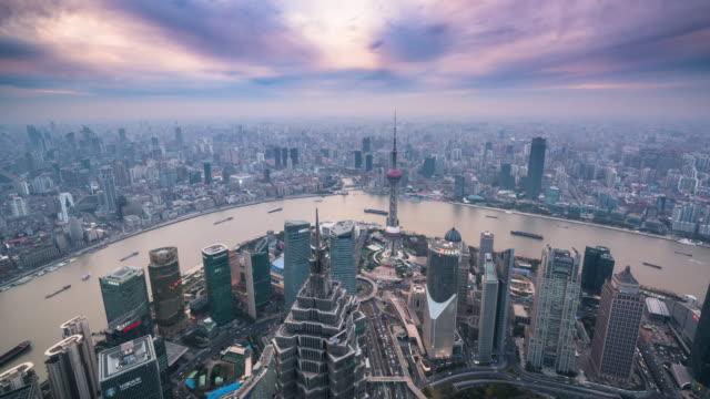 T/L WS TU aerial view of Shanghai Cityscape