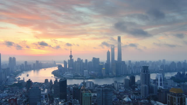 Aerial View of Shanghai, Dawn to Day Time lapse