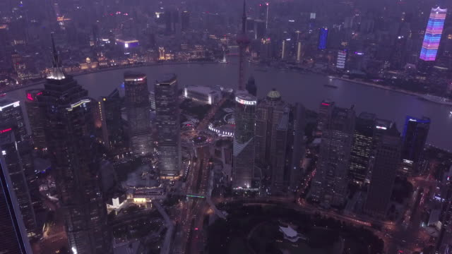 aerial view of shanghai financial district at night - china east asia stock videos & royalty-free footage