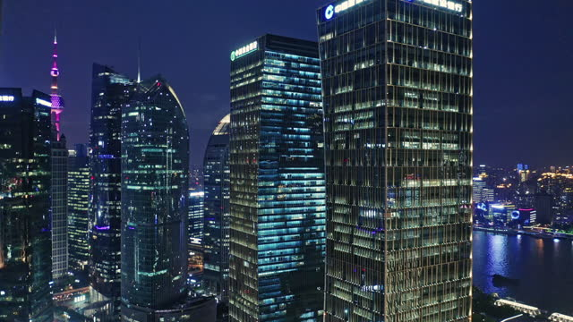 aerial view of shanghai financial district at night - development stock videos & royalty-free footage