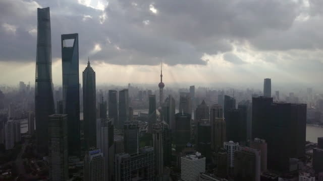 aerial view of shanghai financial district at sunset - east china stock videos & royalty-free footage