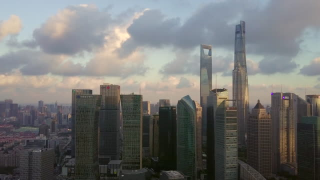 Aerial View of Shanghai Financial District at sunset