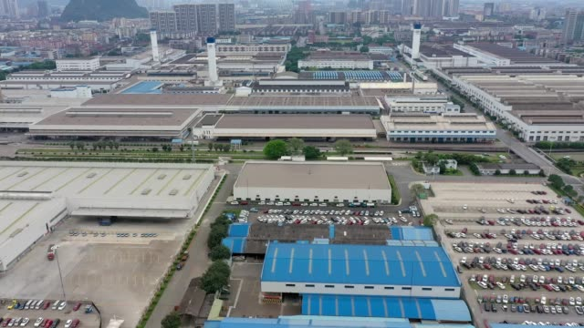 aerial view of shanghai general motors wuling on march 28, 2020 in liuzhou, guangxi zhuang autonomous region of china. - guangxi zhuang autonomous region china stock videos & royalty-free footage