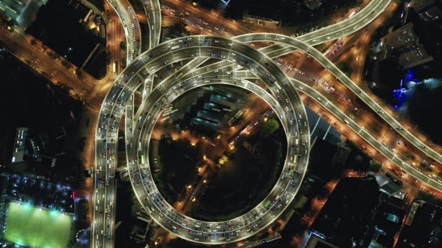 aerial view of shanghai highway at night - smart city stock videos & royalty-free footage
