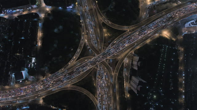 aerial view of shanghai highway at night - chinese culture stock videos & royalty-free footage