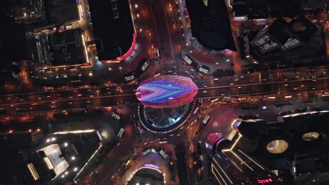 aerial view of shanghai highway at night - abstract stock videos & royalty-free footage