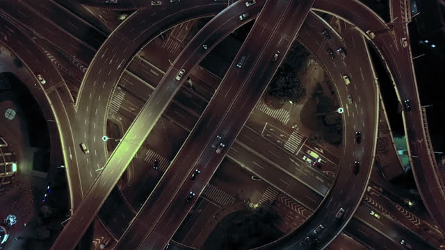 aerial view of shanghai highway at night - smart stock videos & royalty-free footage