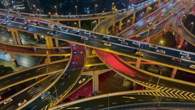 aerial view of shanghai highway at night - concept stock videos & royalty-free footage
