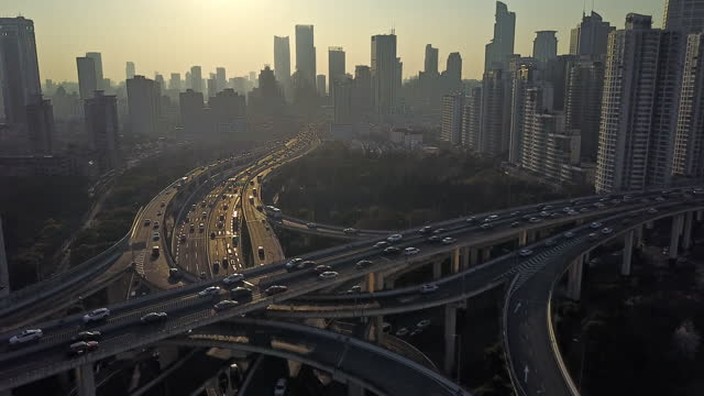 aerial view of shanghai highway - smart stock videos & royalty-free footage
