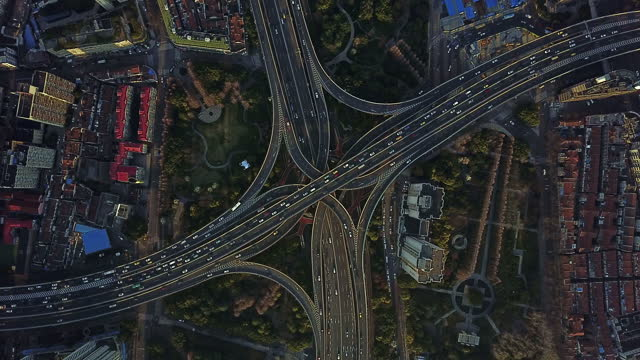 aerial view of shanghai highway - china east asia stock videos & royalty-free footage