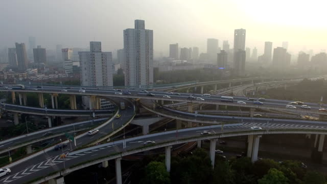 aerial view of shanghai highway - elevated road stock videos & royalty-free footage