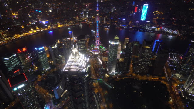 luftaufnahme von shanghai in der nacht - klammer stock-videos und b-roll-filmmaterial