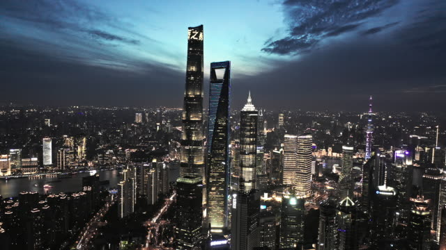 aerial view of shanghai lujiazui financial district at night - shanghai stock videos & royalty-free footage