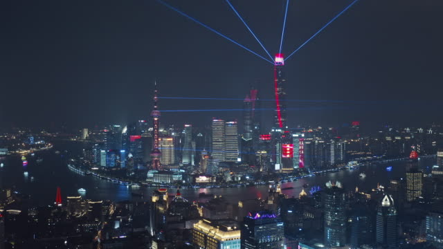 aerial view of shanghai lujiazui financial district at night - 電飾点の映像素材/bロール