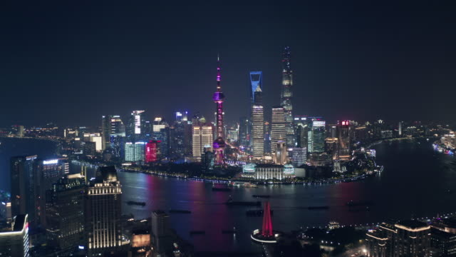 aerial view of shanghai lujiazui financial district at night - china east asia stock videos & royalty-free footage
